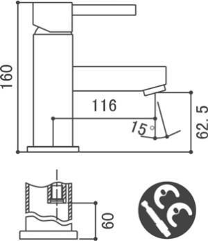 Medidas Grifo monomando para lavabo Borrás AMS9201C