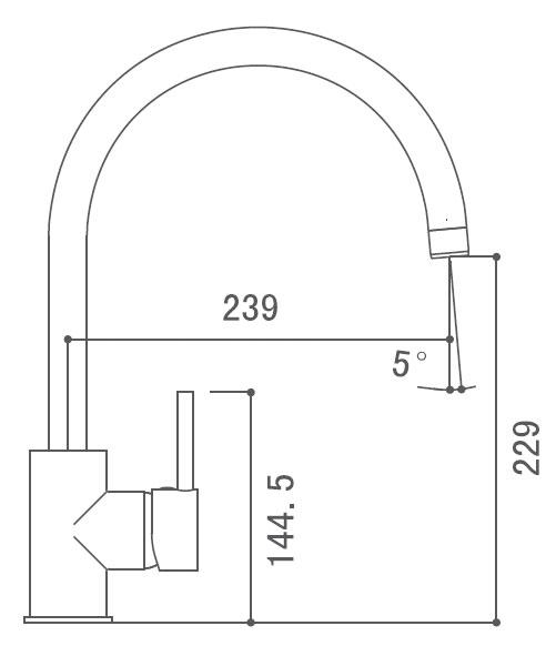 Medidas Grifo monomando para cocina Borrás BCN0866C