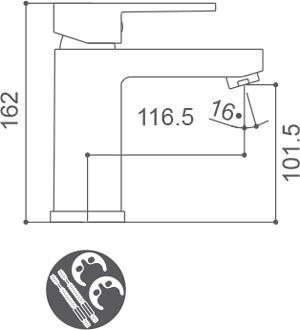 Grifo monomando para lavabo Borrás LHR3901C