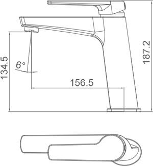 Medidas Grifo monomando para lavabo caño medio Borrás NYK17511C