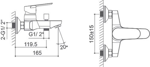 Medidas Grifo monomando para baño/ducha Borrás PEK0763C