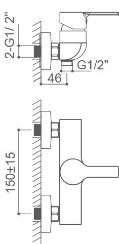 Medidas Grifo monomando para ducha Borrás ROM0564CB