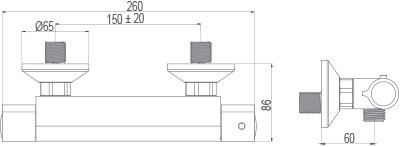 Medidas grifo monomando termostatico Borrás TC043C