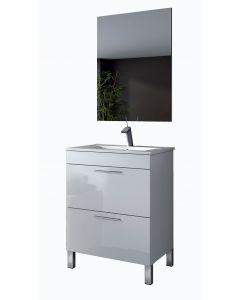 Mueble de baño puerta abatible + cajón + lavabo + Espejo - Arkitmobel Althea 305335BO+305921O