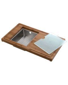 Tabla de corte de bambú 320 x 540mm + escurridor de acero + tabla de vidrio. Luisina AEPLUBK1