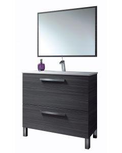 Mueble de baño puerta abatible + cajón + lavabo + Espejo - Arkitmobel Urban Gris 305412G+305910O