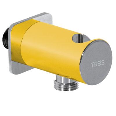 Soporte redondo para ducha LOFT con toma pared - Tres 03425001AM