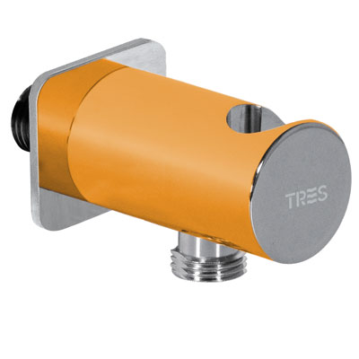 Soporte redondo para ducha LOFT con toma pared - Tres 03425001NA