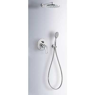 Kit de ducha monomando empotrado con cierre y regulación de caudal.  - Tres 06917501