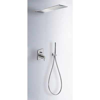 Concealed thermostatic shower kit with water shut off and flow control (2 ways) - Tres 09096001