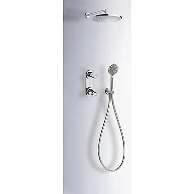 Concealed thermostatic shower kit with water shut off and flow control (2 ways) - Tres 181175