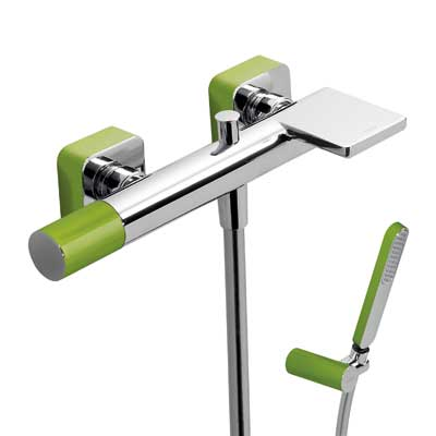 Single lever bath and shower mixer with cascade green - Tres 20017001VE