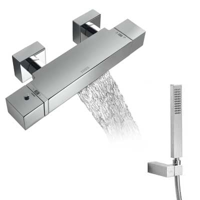 Wall thermostatic bath and shower mixer with cascade - Tres 20217409
