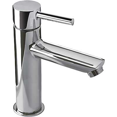 Single lever washbasin mixer chrome finish lever and automatic drain - Tres 20320301D
