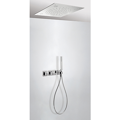 Concealed thermostatic shower kit CHROMOTHERAPY with water shut off and flow control (2 ways) - Tres 20725205