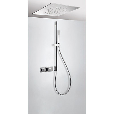Concealed thermostatic shower kit with water shut off and flow control (2 ways) - Tres 20725209