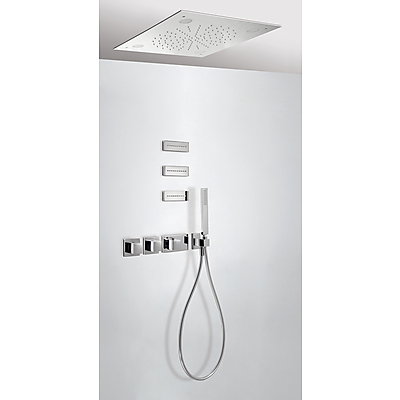 Concealed thermostatic shower kit CHROMOTHERAPY with water shut off and flow control (3 ways) - Tres 20725304
