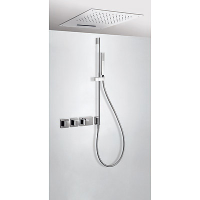 Concealed thermostatic shower kit with water shut off and flow control (3 ways) - Tres 20725311