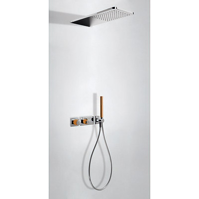 Concealed thermostatic shower kit with water shut off and flow control (2 ways) orange - Tres 20735202NA