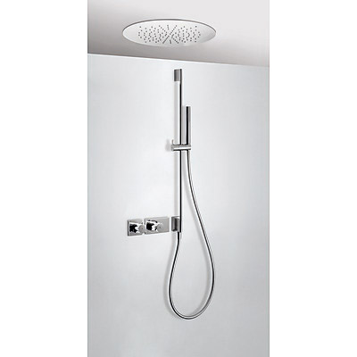 Concealed thermostatic shower kit with water shut off and flow control (2 ways) - Tres 20735212