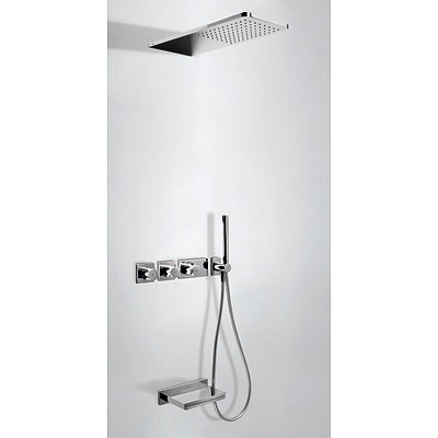 Concealed thermostatic bath kit with water shut off and flow control (3 ways) - Tres 20735305