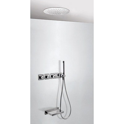 Concealed thermostatic bath kit with water shut off and flow control (3 ways) - Tres 20735306