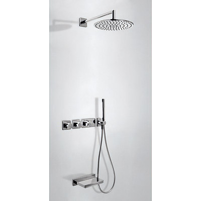 Concealed thermostatic bath kit with water shut off and flow control (3 ways) - Tres 20735308