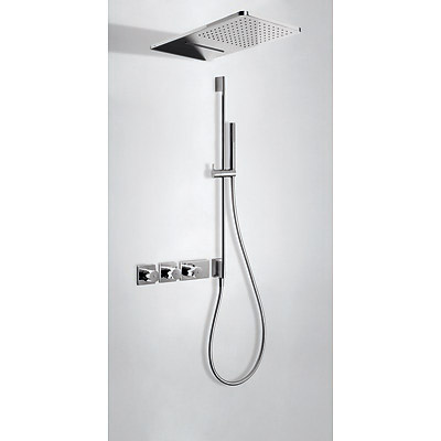 Concealed thermostatic shower kit with water shut off and flow control (3 ways) - Tres 20735309